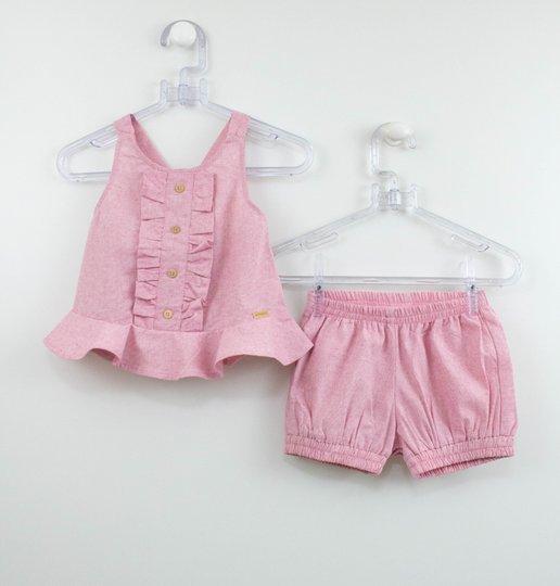 Conjunto Bebê Rosa Blusa e Short Fofinho Um mais Um