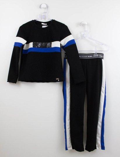 Conjunto Menina 1+1 Blusa + Calça Esportiva Listras