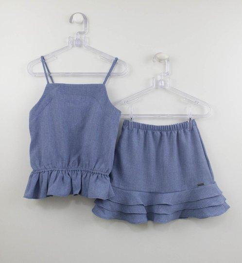 Conjunto Menina Blusa e Saia Azul Linho Um mais Um