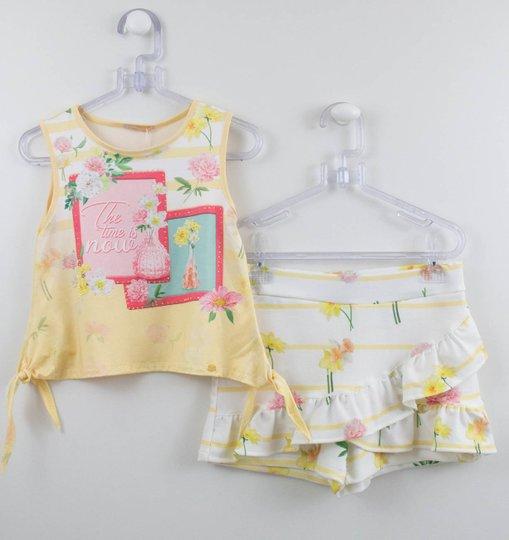 Conjunto Menina Petit Cherie Blusa Amarela + Short Saia