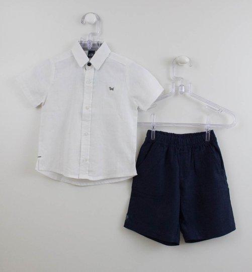 Conjunto Menino 1+1 Linho Camisa e Bermuda