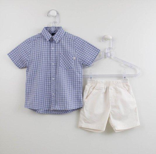 Conjunto Menino 1mais1 Camisa Xadrez e Bermuda Cru