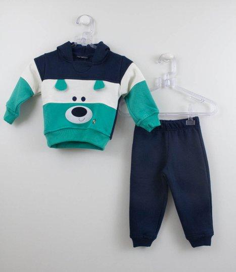 Conjunto Moletom Bebê Cachorrinho Azul e Verde Vrasalon