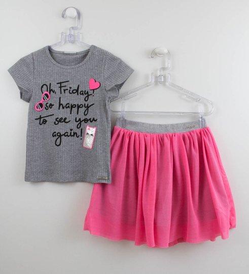 Conjunto Momi Blusa Patchs e Saia Short Tela Pink Neon