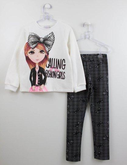 Conjunto Momi Casaco Fashion Girls e Calça Xadrez Laços