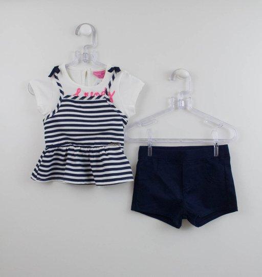 Conjunto Momi Mini Blusa Listras e Short Marinho