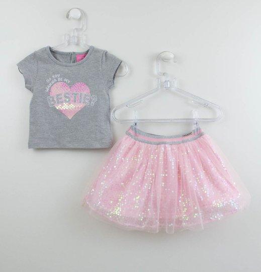 Conjunto Momi Mini Blusa Mescla e Saia Short Tule Rosa e Paetês