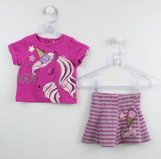 Conjunto Momi Mini Blusa Unicórnio + Saia Short Listras