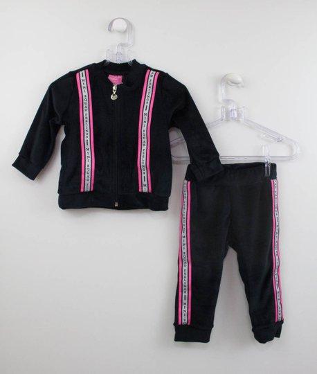 Conjunto Momi Preto Plush Casaco e Calça Listra Pink