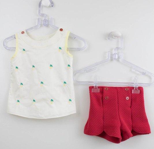 Conjunto Nanai Blusa Frutinhas Bordadas + Short Malha