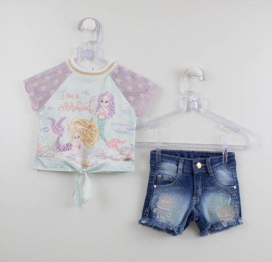 Conjunto Peti Cherie Blusa Sereia e Shorts Jeans