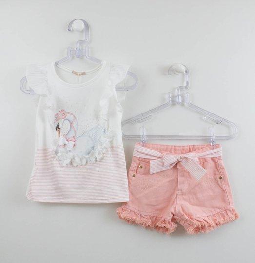 Conjunto Petit Cherie Blusa Cisne e Shorts Jeans Rosa
