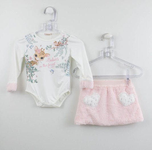 Conjunto Petit Cherie Girafa Baby Body e Saia Pelo Rosa
