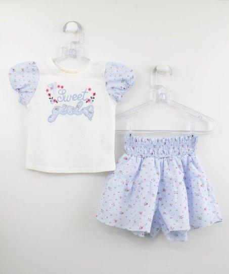 Conjunto Petit Cherie Natural Blusa e Short Azul Liberty