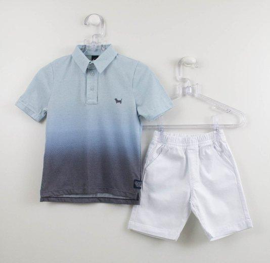 Conjunto Polo Degradê Azul e Bermuda Branca 1+1 Menino