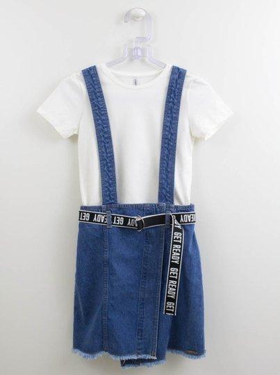 Conjunto Salopete Jeans e Blusa Básica Authoria