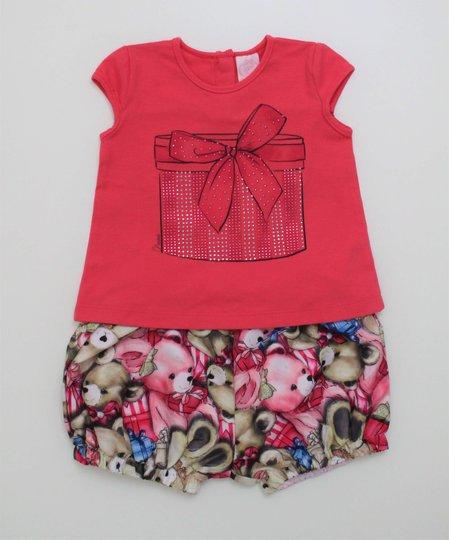 Conjunto Pituchinhus Mini Blusa Presente Short Ursinhos