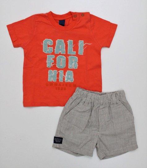 Conjunto 1+1 Camiseta California Bordada com Bermuda Tecido Listras