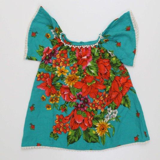 Vestido Bebê Fábula Lea  Estampa Floral com Renda nas Bordas 100% Viscose