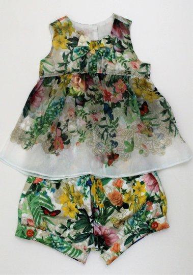 Conjunto 1+1 Menina Baby Bata com Short Estampa Flores e Borboletas