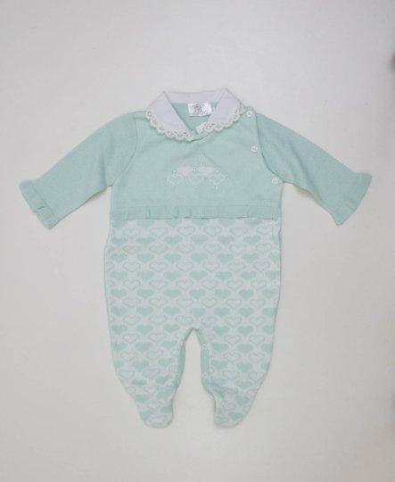 Macacão B de Bebê Menina Verde Água Tricot Corações