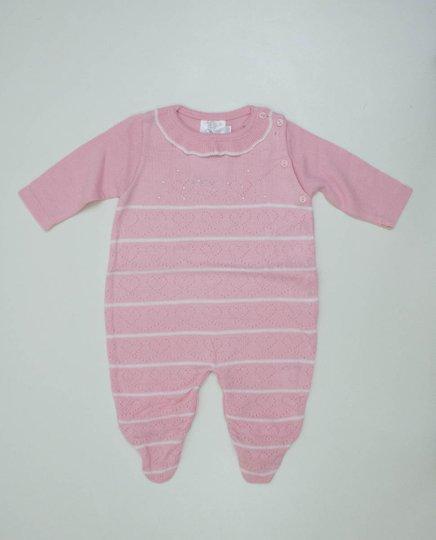 Macacão B de Bebê Rosa Jacquard Corações e Cristais