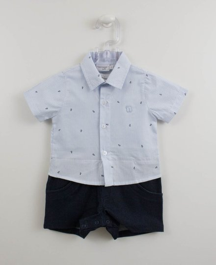 Macacão Camisa Âncoras Azul Noruega Baby Menino