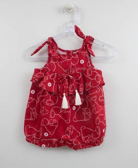 Macacão Fofinho Vermelho Coelhos Bebê Um mais Um