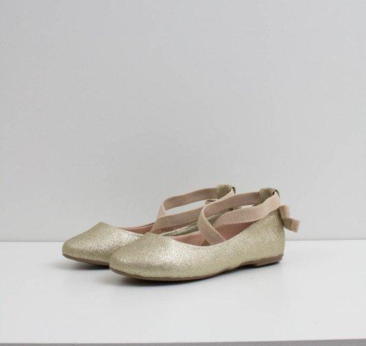Sapatilha Bailarina Dourada Glitter Contramão