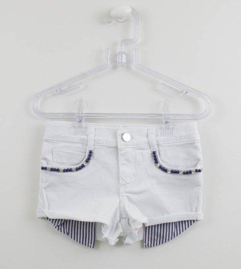 Short Infantil Branco Pituchinhus Bolso Aparente