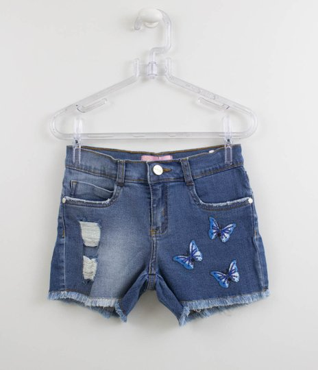 Short Jeans Patches Borboletas Pituchinhus