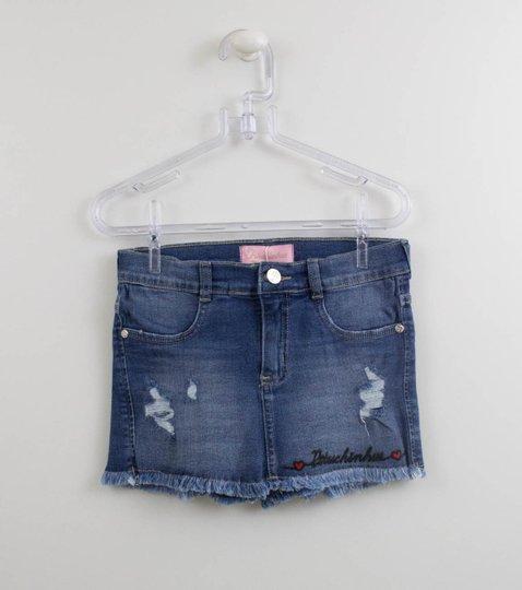 Short Saia Jeans Pituchinhus Coração