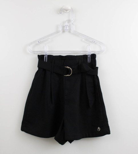 Shorts Clochard Liso Linho Preto Authoria
