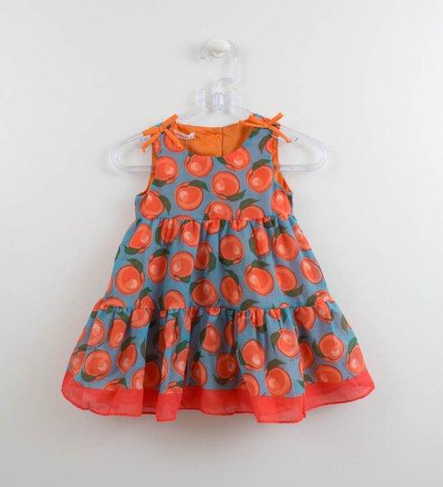 Vestido 1+1 Bebê Tecido Estampa Laranja com Calcinha