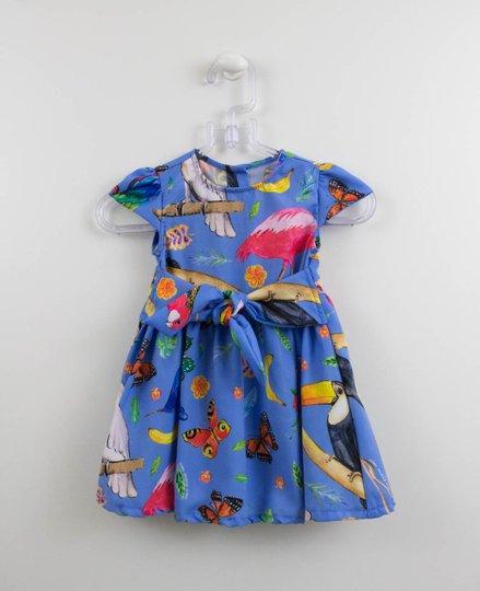 Vestido 1+1 Lavanda Estampa Flamingo e Borboletas