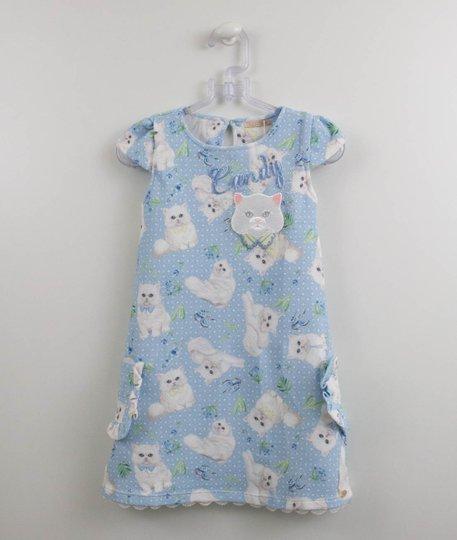 Vestido Azul Gatinhos Candy Malha Petit Cherie