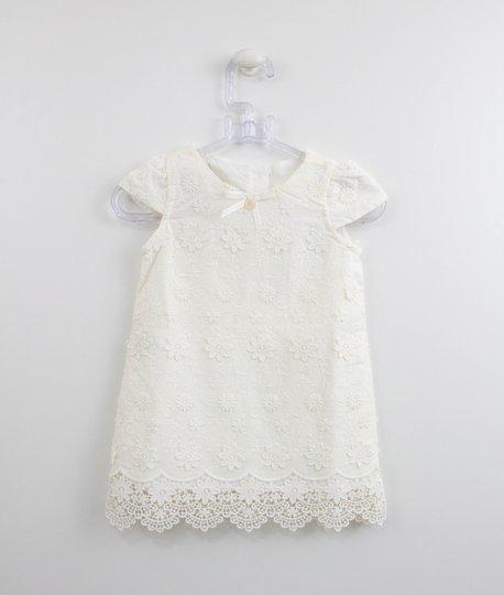 Vestido Bebê Off White Bordado Renda Um mais Um