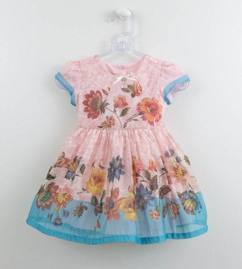 Vestido Bebê Rosa 1+1 Organza Flores com Calcinha