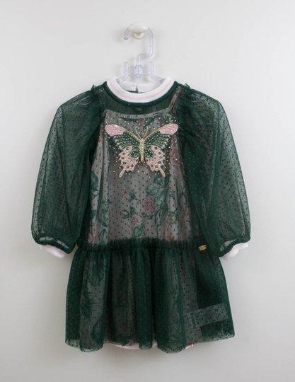 Vestido Borboleta Tule Verde Petit Cherie