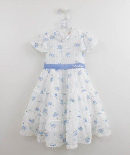 Vestido Branco Flores Azuis Fluido Petit Cherie