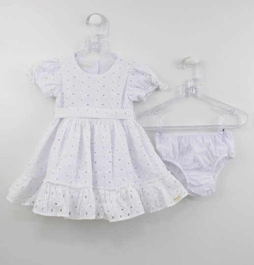 Vestido Branco Laise Bebê  Um mais Um com Calcinha