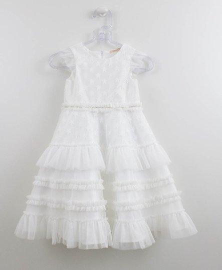 Vestido Branco Tule Estrelas Petit Cherie