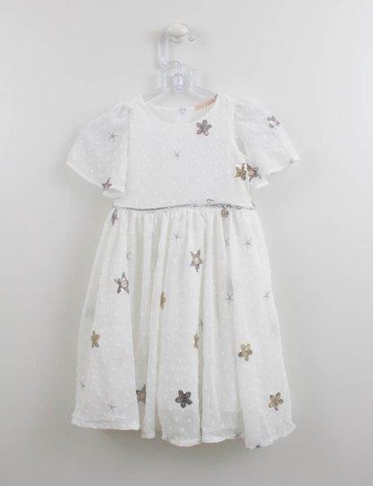 Vestido Crepe Off White Bordado Estrelas Petit Cherie