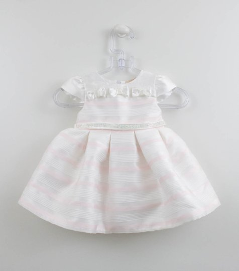 Vestido Festa Baby Off Listras Rosa Petit Cherie
