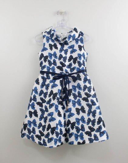 Vestido Laços Azuis Infantil Um mais Um com Máscara