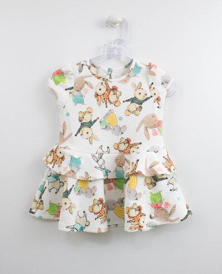 Vestido Malha Estampa Coelhos Um mais Um Bebê