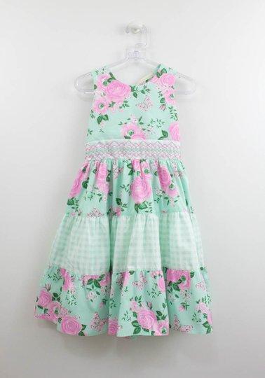 Vestido Petit Cherie Natural Verde Água Estampa Flores
