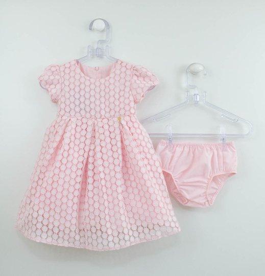 Vestido Rosa Claro Renda Guipir 1+1 Baby