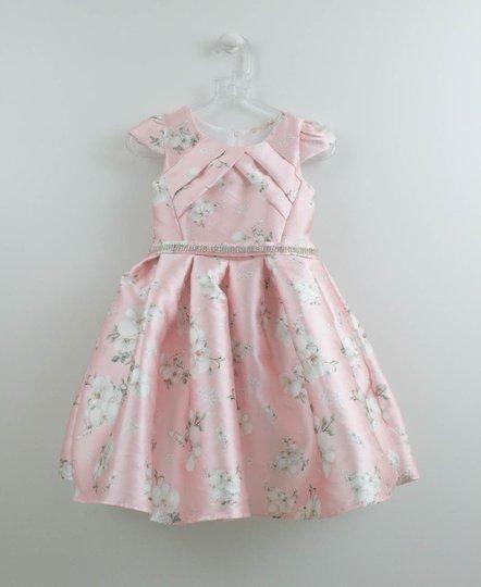Vestido Rosa Festa Estampa Orquideas Petit Cherie
