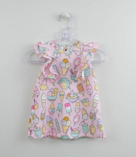 Vestido Rosa Sorvetes 1+1 Baby com Calcinha
